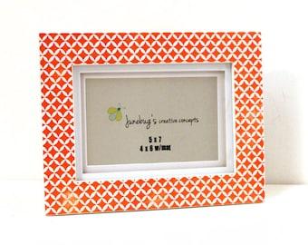5x7 4x6 Wood Photo Frame Orange Diamonds