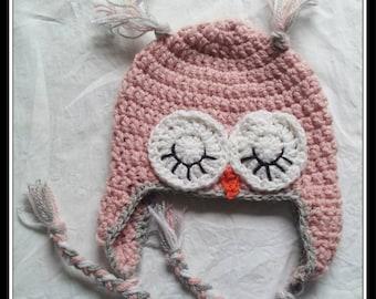 Baby Pink Owl Beanie