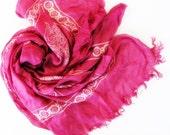 Fusia Silk Handpainted Silk Square Scarf,Shawl,Wrap,Bandana,Headband,Elegant