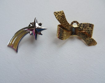 Cute Vintage 1980s Pins Star and Bow