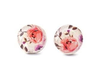 Pink floral stud earrings. summer outdoors pink earrings. flower earrings  eco friendly floral jewelry wood jewelry wood earrings