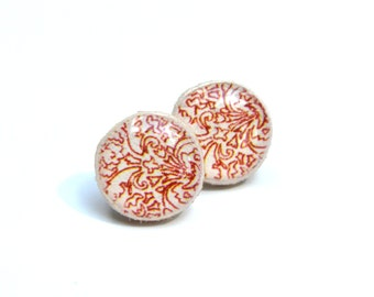 Red damask stud earrings. Red studs tiny stud earrings damask post earrings  Wood jewelry.  Starlight woods. Eco friendly
