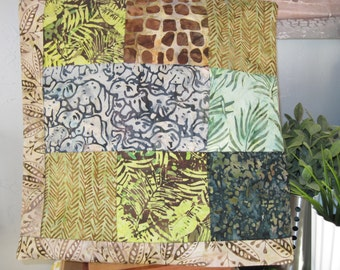 """14"""" x 14"""" batiks PILLOW COVER - Sunrise on an African Savannah Elephant Walk using 8 Squares of Nature"""