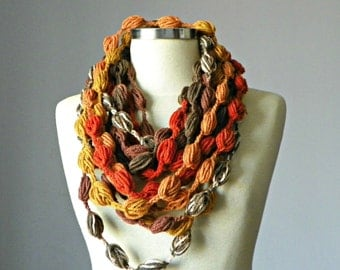 SALE, Crochet scarf, Infinity scarf, bubble fiber necklace, winter accessories, chunky cowl, loop scarf