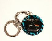 Pink Floyd Keychain, Aqua Zebra bottlecap, Pink Floyd keyring, Dave Gilmour, Roger Waters, Party Favors