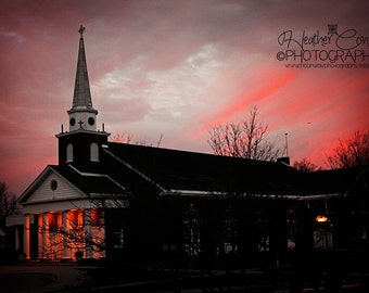 Halloween Night Sky Photo Witchy Red Night Sky Orange Light Twilight Pink Clouds Spooky Church Photo Fine Art Photograph Sunset