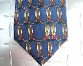 BKool Vintage Roper Silk Necktie, Cowboy Boots on Dark Blue, Mens Ties, Excellent Cond.