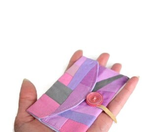 Pink Card Case, Radiant Orchid, Business Card Case, Fabric Wallet,  Modern Wallet