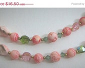 20% Off Sale Pink Glass-AB Crystal-Pink Stone Necklace