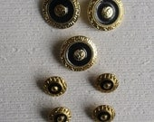 Reserved for G - Designer Shank Buttons - 1 Set of 7 Black and Goldtone Metal - 1 Set of 6 Black and Silver Metal - Face in the Middle