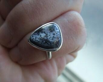 Merlinite Ring - Sterling Silver - Dendritic Opal - Black Psilomelane - Size 6.5 - Merlinite Cabochon - Handmade Jewelry