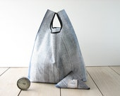 man tote bag made with gray stripes cotton / men shopping bag / lunch tote / minimalist gift bag / market bag / home organization