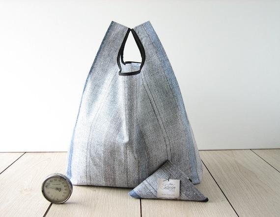 man tote bag made with gray stripes cotton / men shopping bag
