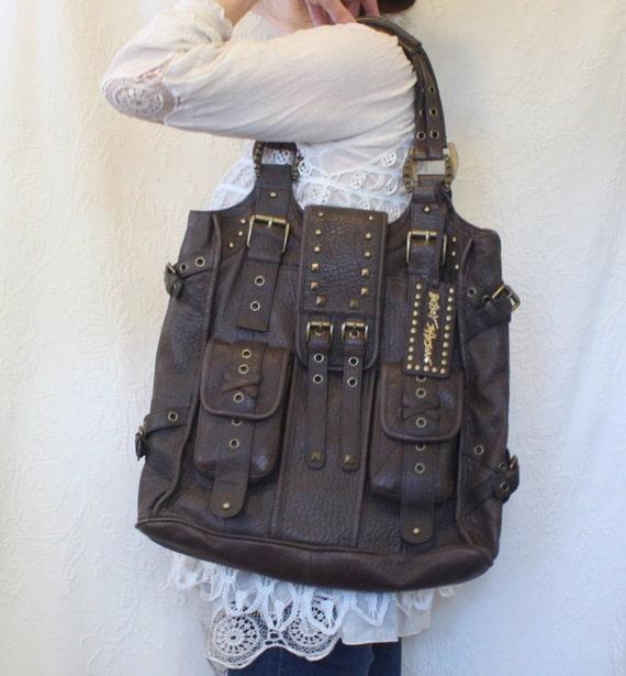 Betsey Johnson Brown Leather Lucky Charms Large Handbag Tote