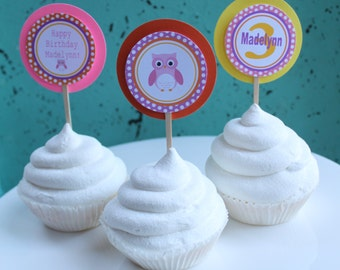 SWEET OWL Theme Birthday or Baby Shower Cupcake Toppers Set of 12 {One Dozen}