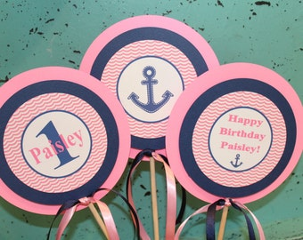 GIRLY ANCHOR'S AWAY Nautical Girl Theme Birthday or Baby Shower Centerpiece Sticks {Set of 3}