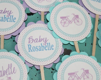 VINTAGE BICYCLE  Happy Birthday or Baby Shower Cupcake Toppers Set of 12 {One Dozen}