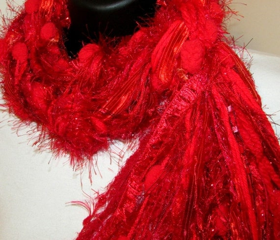 LOvE ReD! knotted Scarf, All Fringe Scarf, Women, Red, fashion scarf, womens gifts, red scarf, lightweight scarf, soft scarf, scarves