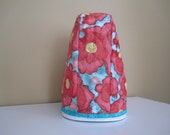5 quart Lift-Up Bowl - Quilted Mixer Cover for Kitchen-Aid - Red & Turquoise Poppy Print - Birthday Wedding Shower Gift