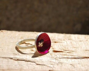 Sterling Silver Ring - Flower - Pink- Contemporary jewelry - Made to order