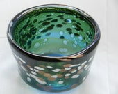 Handblown deep blue green bowl with white and gold sparkle accents