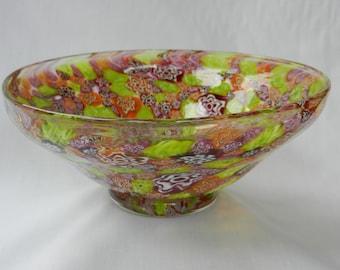 Handblown glass bowl of green, orange and red millefiori