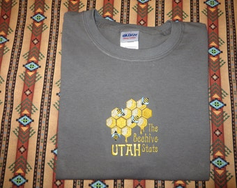 Embroidered Utah The beehive state T shirt