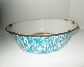 Vintage Swirl Enamelware Pan Large Dark Turquoise Graniteware Collectible