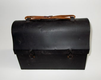 Vintage Lunch Pail Leather Handle 1940's