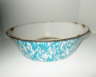 Vintage Swirl Enamelware Pan Large Dark Turquoise Graniteware Collectible