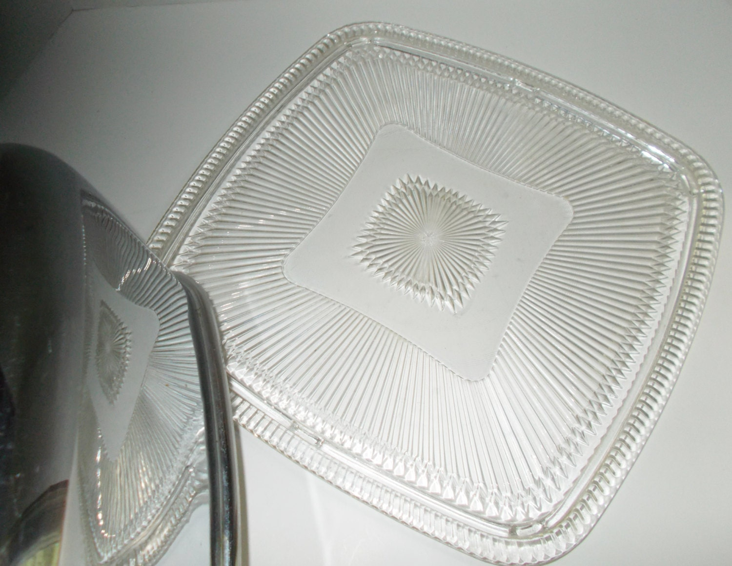 Vintage Cut Glass Square Cake Plate Chrome Lid By Nannasthings