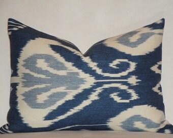 KRAVET Lumbar Decorative Pillow Cover - 14 x 20, 14 x 22 -  Bansuri In Iris - IKAT - Blue