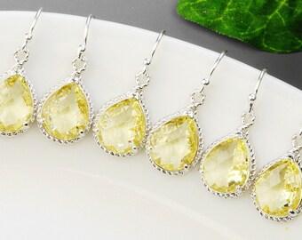 Yellow Earrings - 5% OFF SET OF 3 Bridesmaid Jewelry Set - Yellow Bridesmaid Earrings - Silver and Glass Drop Earrings - Wedding Earrings