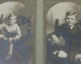 Vintage Antique Photograph Boys Brothers George and Charles
