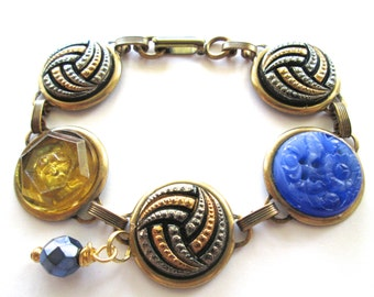 WATER POLO University California antique button bracelet, all glass buttons, blue & gold
