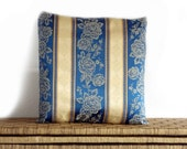 Floral cushion, elegant pillow cover blue & beige with roses design, 16x16
