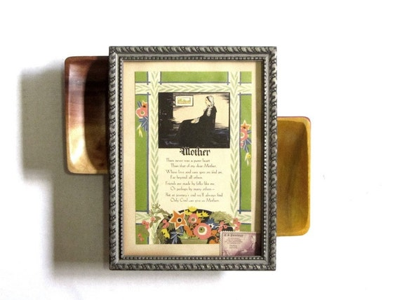 "Mothers Day Framed Art Poetry Motto Card Mother Art Deco ""Whistler's Mother"" Colorful Gift Tribute to Mom"