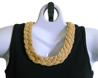 FABRIC NECKLACE, Butterscotch, Golden Tan, Tshirt Scarf, Upcycled T-shirt Fabric, Handmade, Ready to Ship. (Se Pic #4 for Optional Styling)
