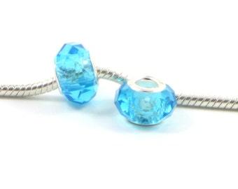 3 Beads - Light Blue Glass Crystal Silver European Bead Charm E0460
