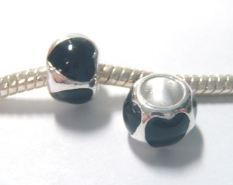 3 Beads - Black Heart Barrel Enamel Silver European Bead Charm E1323