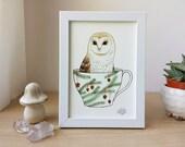 Art Print - Barn Owl in a Teacup II - 5x7in Holiday Art