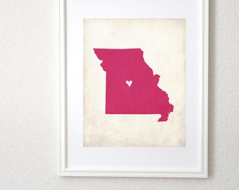 Missouri Love Personalized State Map Art 8x10 Print.