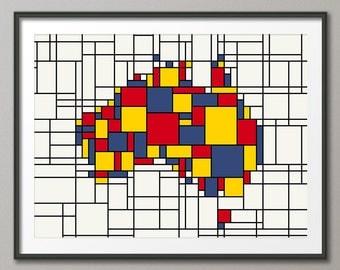 Australia Map, Mondrian Inspired Abstract Art Print (1060)