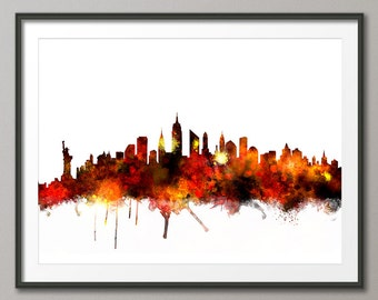 New York Skyline, NYC Cityscape Art Print (1068)