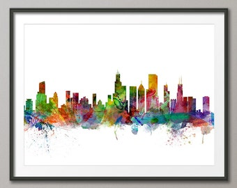 Chicago Skyline, Chicago Illinois Cityscape Art Print (1199)