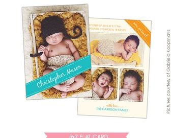 INSTANT DOWNLOAD - Birth announcement Photoshop template- E476