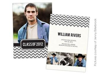 INSTANT DOWNLOAD - Graduation announcement - Photoshop Templates - E435