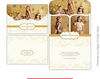 INSTANT DOWNLOAD -  Holiday Folded Luxe Card Template - Gold Magic 5x7 - E232