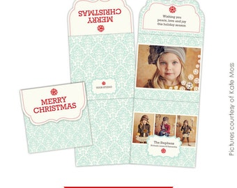 Holiday Folded Luxe Card Photoshop Template - Sky - E155