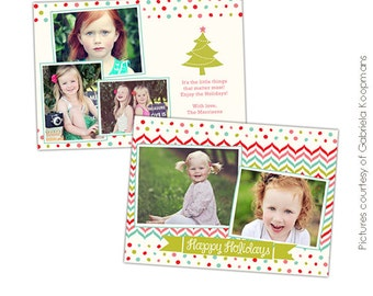 INSTANT DOWNLOAD - Psd Christmas Flat Card Photoshop template - Little things - E529